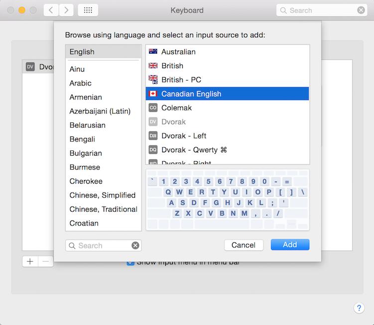 adding a Canadian English keyboard